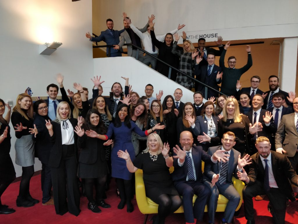 Take Off Event - apprenticeship celebration event group picture with James Reed