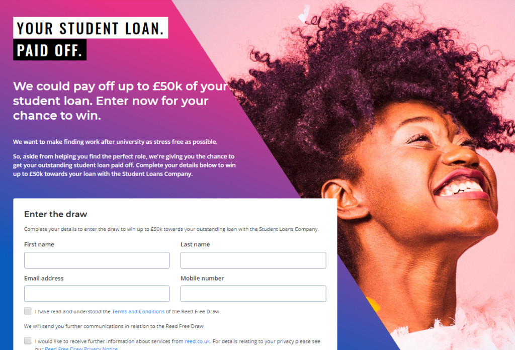 student loan paid off by reed.co.uk - click to enter draw