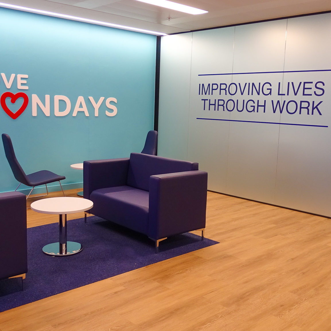Birmingham Office Reception for RSR including love mondays logo and company purpose of improving lives through work