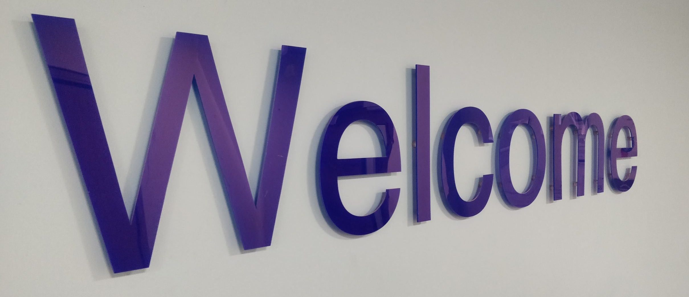 welcome sign at the Reed Screening office in Manchester